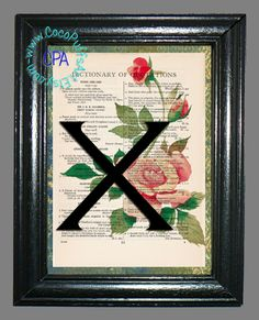 Letter X with Single Pink Rose, Red Bud & Green Leaves Upcycled Vintage Dictionary Page Book Art Print by CocoPuffsArt on Etsy