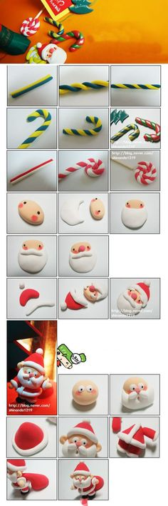 Santa Claus and Candy Fimo Christmas Cake Decorations, Fondant Decorations, Christmas Cupcakes, Christmas Topper, Polymer Clay Projects, Polymer Clay Creations, Diy Clay, Fondant Figures, Clay Figures