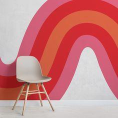 Retro Color Palette, Orange Color Palettes, Waves Wallpaper, Funky Wallpaper, Wallpaper Murals, Geometric Wallpaper, Room Deco, Striped Walls, Bedroom Murals
