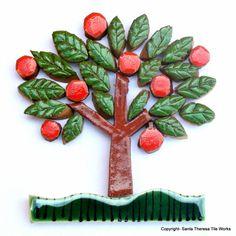 Handmade mosaic tile collection – orange tree