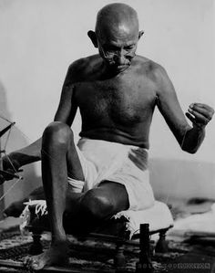 Margaret BOURKE-WHITE: Mahatma Ghandi, 1946.   Gandhi attempted to practice non-violence and truth in all situations, and advocated that others do the same.
