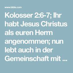 Kolosser 2:6-7; Ihr habt Jesus Christus als euren Herrn angenommen; nun lebt auch in der Gemeinschaft mit ihm. Wie ein Baum in der Erde, so sollt ihr in Christus fest verwurzelt bleiben, und nur er soll das Fundament eures Lebens sein. Haltet fest an dem Glauben, den man euch lehrte. Für das, was Gott euch geschenkt hat, könnt ihr ihm gar nicht genug danken.