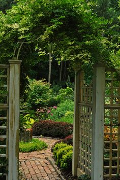 Beautiful brick path, wonderful arbor, something of interest in center of walkway, and a mysterious woodland garden in the background. This garden has it all! Garden Entrance, Garden Arbor, Garden Path, Arbor Gate, Garden Archway, Lush Garden, Fence Gate, Landscape Design, Garden Design