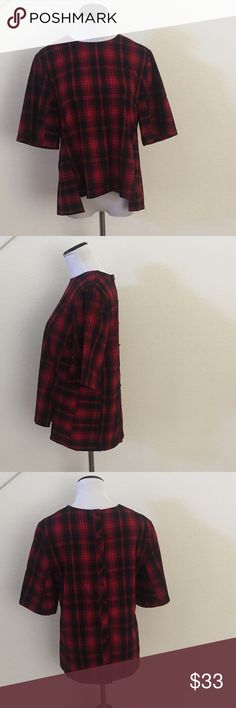 ANTHROPOLOGIE ZOA NEW YORK RED PLAID SHIRT, MED ZOA New York red and black plaid, medium shirt.  Buttons up the back.  Please let me know if you have any questions! Anthropologie Tops Blouses