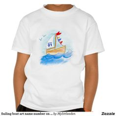 Sailing boat art name number on sail t-shirt. watercolor art and design by www.mylittleeden.com #boatart #boattshirt #customboatshirt