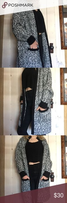 Vintage oversized cardigan Thick warm material super comfy and hits mid thigh! Vintage French brand size M but will fit most S-L ! Super cozy highly recommend if you live in a cold are this summer Vintage Sweaters Cardigans