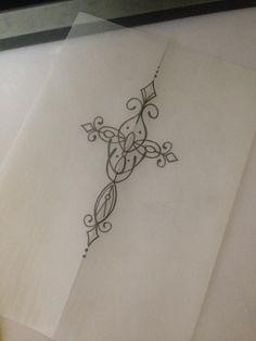 cross back tattoo Small Cross Tattoos, Celtic Cross Tattoos, Cross Tattoos For Women, Ankle Tattoos For Women, Small Tattoos, Spine Tattoos, Back Tattoos, Future Tattoos, Body Art Tattoos