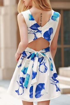 Summer Flare Skater Open Back Trendy Flower Print Dress Blue and White