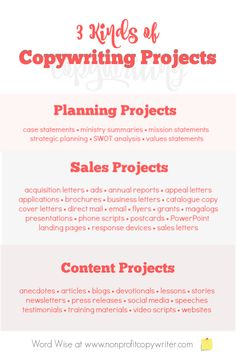 3 kinds of projects with Word Wise at Copywriter. Writing Websites, Writing Jobs, Blog Writing, Writing Skills, Writing Services, Editing Writing, Writing Resources, Business Brochure, Business Tips