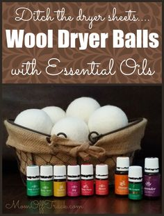 Wool dryer balls with essential oils are 100% natural replacement for chemical filled dryer sheets.