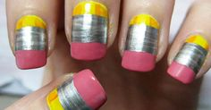 Get ready to NAIL your back-to-school look! - Blackboard Beauty #back to school, #manicures, #nail art, #nailed it