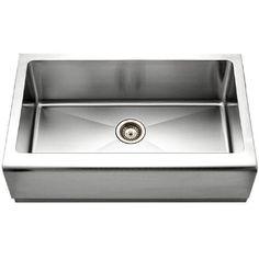 Houzer EPG-3300 Epicure Series Apron Front Farmhouse Stainless Steel Single Bowl Kitchen Sink