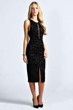 Olivia Flocked Mesh Panel Bodycon Dress at sexy and demure