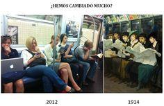 ¿Cómo hemos cambiado?, toman el subterráneo, leen el periódico, miran sus celulares