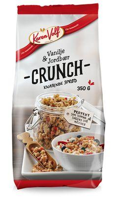 Vores crunch med vanilje og jordbær udviklet specielt som topping til koldskålen #karenvolf #koldskål #crunch