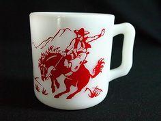Excellent Vintage Anchor Hocking Small Milk Glass Mug Cowboy in Red | eBay