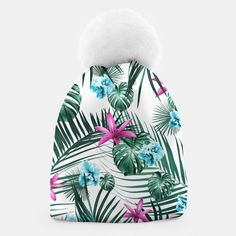 Tropical Flowers & Leaves Paradise #3 #tropical #decor #art Mütze, Live Heroes Tropical Decor, Tropical Flowers, Cute Beanies, Unique Image, Paradise, Winter Hats, Live, Prints, Art