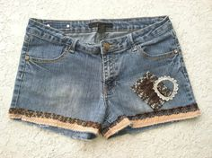 Denim shorts DEECOUTURE upcycled clothing by deecouture on Etsy, $40.00