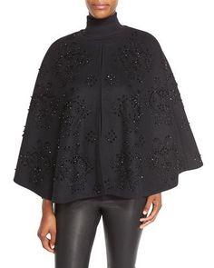 W0EV8 Co Beaded Wool-Blend Cape, Black