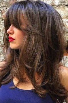 Image result for long hair cuts with bangs