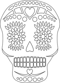 Sugar Skull - Free Day of the Dead Digital Stamp Skull Coloring Pages, Colouring Pages, Coloring Books, Coloring Sheets, Day Of Dead, Day Of The Dead Skull, Sugar Skull Art, Sugar Skulls, Sugar Skull Design