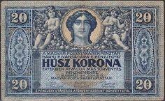 20 Korona Maďarsko 1919, Pick 38 Hungary, Stamps, Coins, World, Paper, Money, Silver, Banknote, Seals