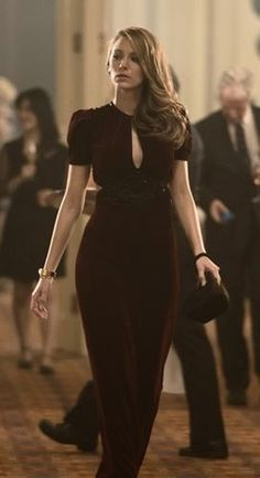 Angus Strathie (Costume Designer) and Gucci Custom Made Red Velvet Keyhole Gown as seen on Adaline in The Age of Adaline | TheTake