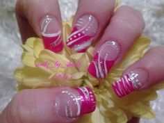 Pink manicure with white n silver glitter