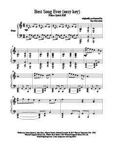 Best Song Ever - One Direction (easy key). Download free sheet music for more than 200 songs at www.PianoBragSongs.com.
