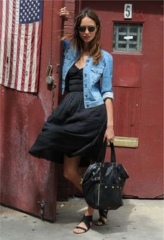 Love this!! and so easy to put together! Black dress, jean jacket, black handbag, and black flats!! So awesome!!