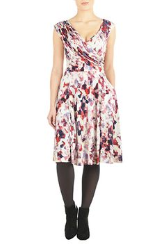 I <3 this Draped front abstract floral knit dress from eShakti
