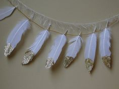 Feather Garland Gold Glitter Dipped Feathers Tribal Party Boho Baby Shower Décor by WildOneFeathers