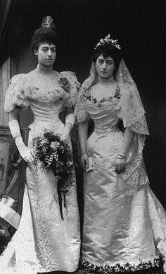Princess Victoria and Princess Maud on Maud's wedding day (daughters of King Edward VII and Queen Alexandra)