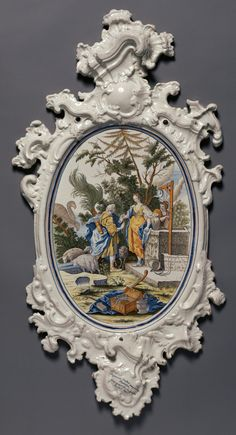 """Plaque depicting Jacob choosing Rachel to be his Bride,"" Alcora Ceramic Factory, After painting by Jacopo Amigoni, about 1755. Faïence (tin-glazed earthenware). J. Paul Getty Museum 