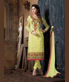 Green Georgette Churidar Suit 67559