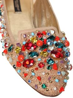 DOLCE & GABBANA Canvas Crystal Beads Loafers