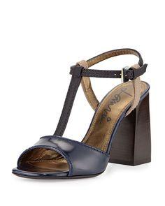 Colorblock Leather T-Strap Sandal, Blue - Lanvin