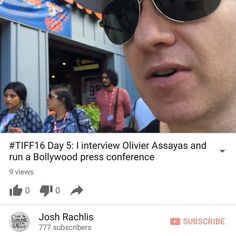 In Day 5 of my #TIFF16 vlog filmed on Sept. 11 I interview Olivier Assayas - director of Personal Shopper starring Kristen Stewart - for @getreelmovies run a Bollywood press conference featuring @lionmovieuk actress @priyankabose20 spot @thejunoawards  nominee @francescoyates and try to find a mysterious party. (Direct link in bio for now or go to http://youtube.com/joshrachlis - And please Like the vid and subscribe to my YouTube channel!)  #olivierassayas #personalshopper #kristenstewart…