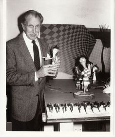 Vincent Price holds one of the puppets from Tim Burton's Vincent.