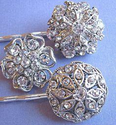 Wedding Hair Pins  Vintage Style Crystal Silver by missjoanshobby, $35.00