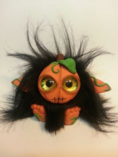 Halloween Pumpkin Troll - Polymer Clay - Sold! by Orang3Marmalade