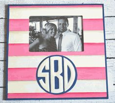 Stripes Hand Painted Monogrammed Photo Frame
