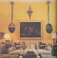 Mario Buatta living room from the 1970s (The 70's, people - wow! Good stuff is ALWAYS good!)  Ribbon draws the eye up and gives good balance.