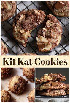 Kit Kat Cookies are a thick vanilla and chocolate swirled cookie recipe loaded w. Kit Kat Cookies are a thick vanilla and chocolate swirled cookie recipe loaded with chopped Kit Kat Soft Cookie Recipe, Favorite Cookie Recipe, Oatmeal Cookie Recipes, Easy Cookie Recipes, Baking Recipes, Dessert Recipes, Cheap Recipes, Cookie Ideas, Yummy Recipes