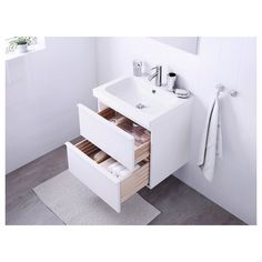 GODMORGON / ODENSVIK Sink cabinet with 2 drawers - high gloss white - IKEA I like the wood drawers, white gloss exterior. I don't think a hanging cabinet would work with the plumbing through the floor. I like the wood plank floor - assume it's vinyl Ikea Bad, Steel Seal, Water Traps, Recycling Facility, Plastic Foil, Wash Stand, Plastic Drawers, Drawer Fronts, High Gloss