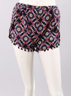 Multi Pom Shorts,  Bottoms, pompom shorts multi shapes, Chic