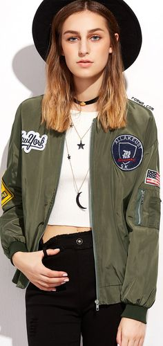 Army Green Embroidered Patches Zip Up Bomber Jacket