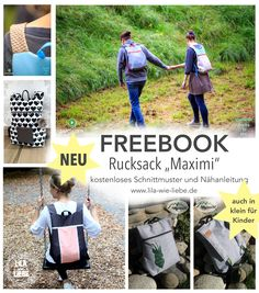 "Sewing Backpack: ""Maximi"" (a cut for adults and children)- free pattern for backpack – adult and child version – minimalist - Sewing Patterns Free, Free Sewing, Free Pattern, Knitting Patterns, Sewing Stitches, Sewing Hacks, Sewing Projects, Diy Bags Tutorial, Diy Bags Purses"