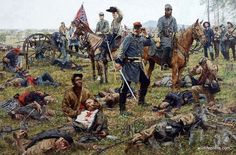 """This is THE GRIM HARVEST OF WAR, a truly graphic piece of Civil War artwork painted by Bradley Schmehl, an artist who specializes in accurate historical paintings. """"Blazing with the fire of combat, Ja"""