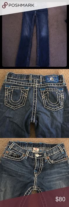 Boys True Religion Brand Jeans Blue jeans wth thick white stitching with royal blue stitching at the top where it's pictured!!!! Great Quality barely worn. Authentic! Must haves!!! True Religion Bottoms Jeans